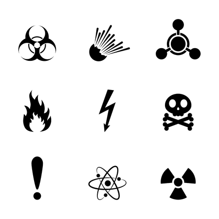 radioactive sign: Set of warning danger signs, isolated on white background. Vector illustration. Set of warning hazard signs.