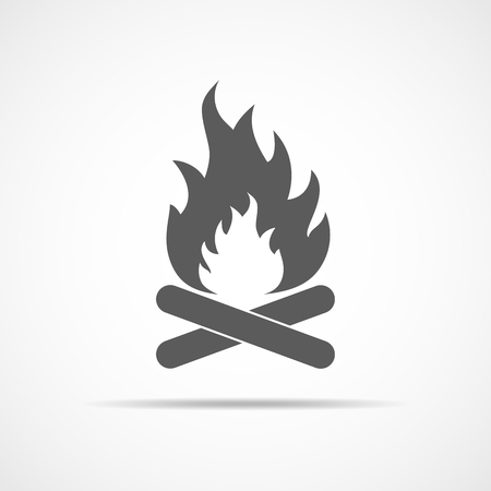 Bonfire icon in flat design. Vector illustration. Gray bonfire icon on light background. Illustration