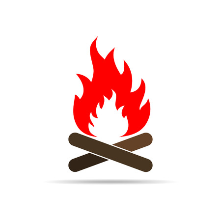 Bonfire icon in flat design. Vector illustration. Colored bonfire icon on white background.