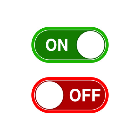 Toggle switch, On and Off position. Switches in flat design. Vector illustration