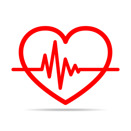 heart monitor: Red heart icon with sign heartbeat. Vector illustration. Heart in flat outline style.
