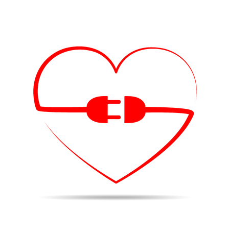 Electric cable, plug and socket in the form of the heart. Vector illustration. Love concept