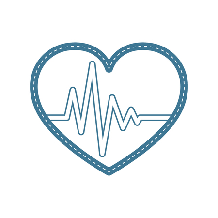 Blue heart icon with sign heartbeat. Vector illustration. Heart in flat style.