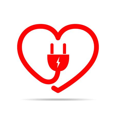 Elektrische kabel en stekker in de vorm van het hart. Vector illustratie. Hou van concept