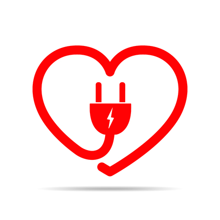 Electric cable and plug in the form of the heart. Vector illustration. Love concept