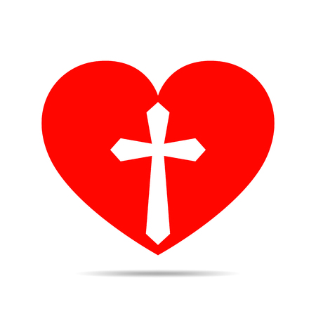 Heart with Christian cross. Red heart icon, isolated on white background. Vector illustration. Christian symbol. Illustration