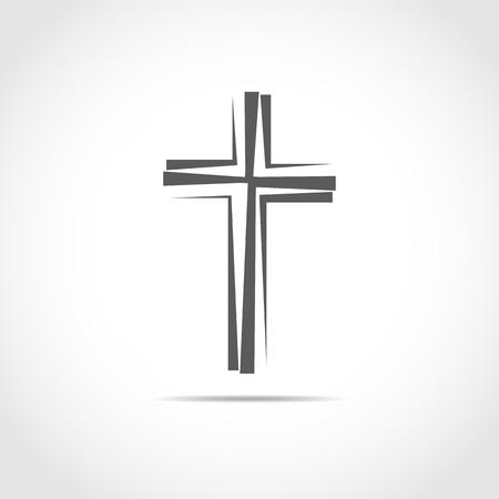 Gray Christian cross icon. Simple Christian cross on light background. Vector illustration. Illustration
