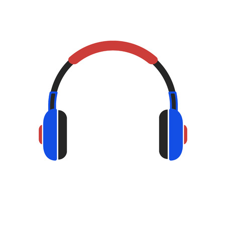 Colored headphone icon, isolated on white background. Vector Illustration.