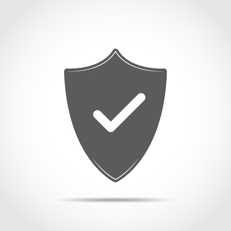Shield with check mark in flat design, isolated on light background. Vector illustration.