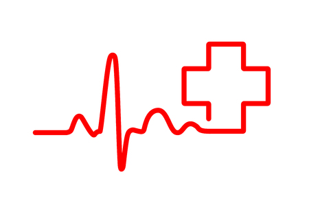 Red Heartbeat Sign With Medical Cross Vector Illustration Medical