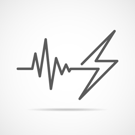 Gray heartbeat sign with lightning. Vector illustration. Heartbeat icon in flat outline style. Illustration