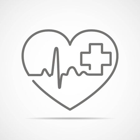 Gray heart with heartbeat sign and with cross. Vector illustration. Heart in flat outline style.