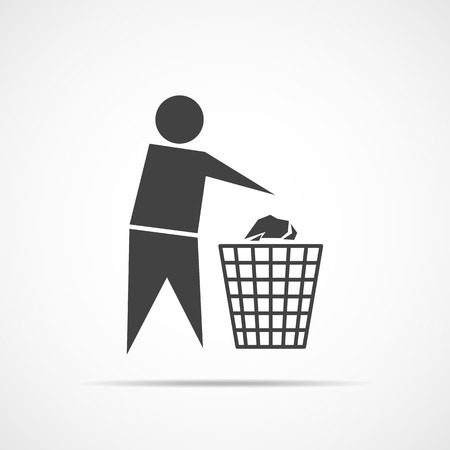 Trash bin or trash can with human figure. Black trash icon, isolated on light background. Vector illustration