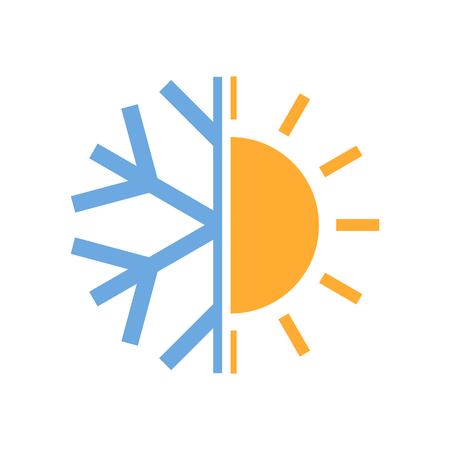 Sun and snowflake symbol of air conditioner. Vector illustration. Hot and cold icon.