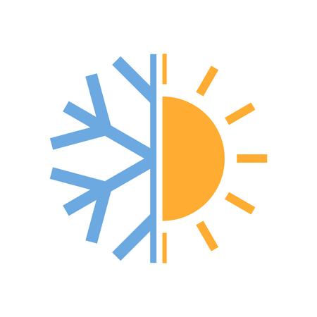 Zon en sneeuwvlok symbool van airconditioner. Vector illustratie. Warm en koud pictogram. Stock Illustratie