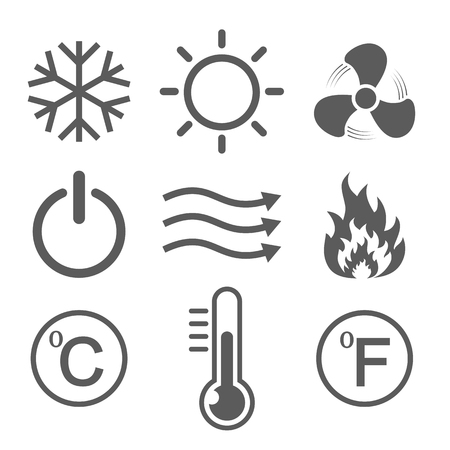 Set of conditioning icons. Vector illustration. Hot, cold, air, power, temperature. Çizim