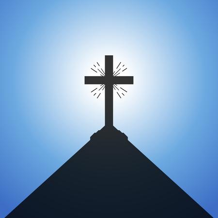 Black Christian cross on blue sky background. Vector illustration. Illustration