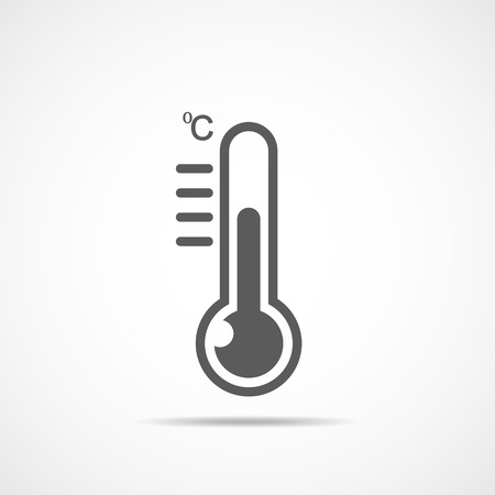 Gray thermometer icon in flat design. Vector illustration. Hot or cold temperature.