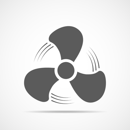 Fan icon, isolated on light background. Vector illustration. Gray fan in flat design