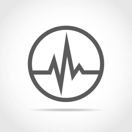 Gray heartbeat sign in the circle. Vector illustration. Medical concept.