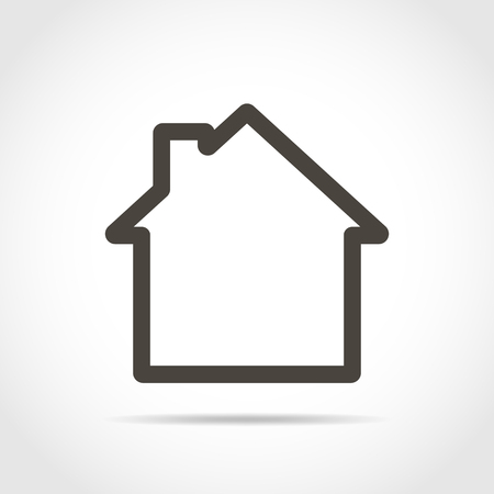 House icon in flat design. Vector illustration. Black house sign, isolated on light background.