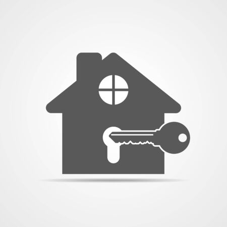 Silhouette of key with house. House key icon. Vector illustration. Estate concept with house and key.