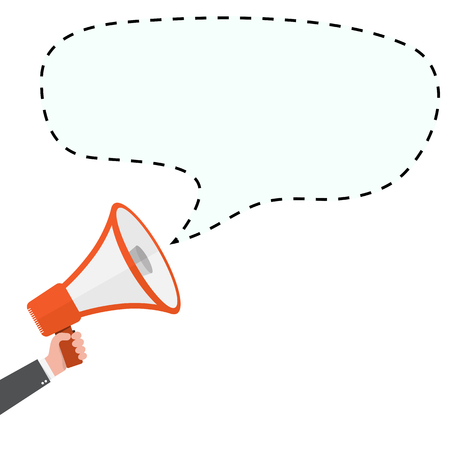 Loudspeaker or megaphone icon. Megaphone with speech bubble, isolated on white background. Vector illustration