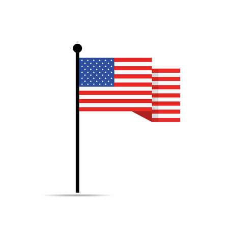 American flag, isolated on white background. Vector illustration. American flag waving. Illustration