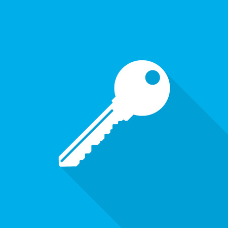Key icon with long shadow on blue background. Simple key icon in flat design. Vector illustration