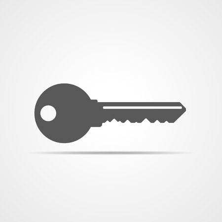 Key icon, isolated on light background. Gray key icon in flat style. Vector illustration