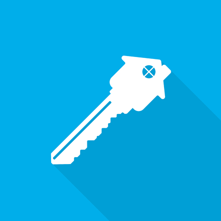 Silhouette of key with house, with long shadow on blue background. Key icon in flat design. Vector illustration