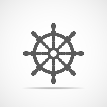 Ship steering wheel icon. Vector illustration. Gray ship steering wheel in flat design