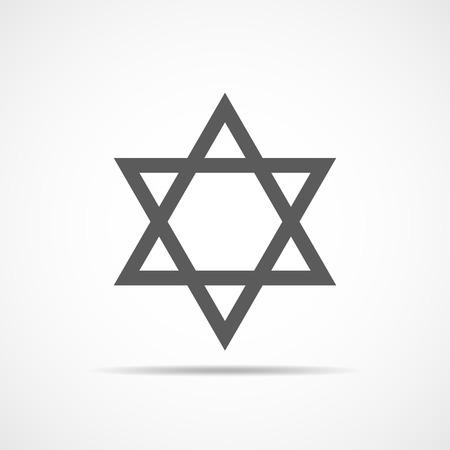 Gray hexagonal star in flat design, Star of David icon