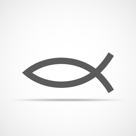 Christian fish icon in flat design.