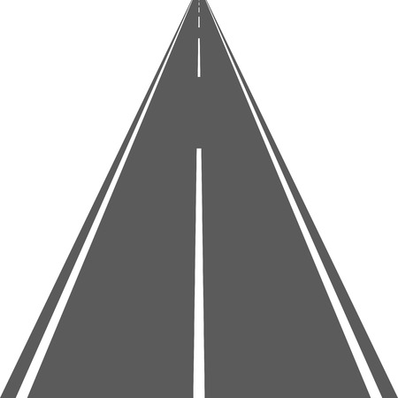 Road or street with asphalt. Vector illustration. Way for transport isolated.
