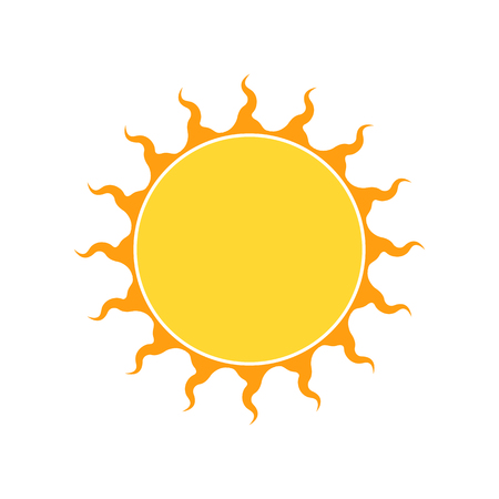 ray of light: Yellow sun icon in flat design. Vector illustration isolated on white background Illustration