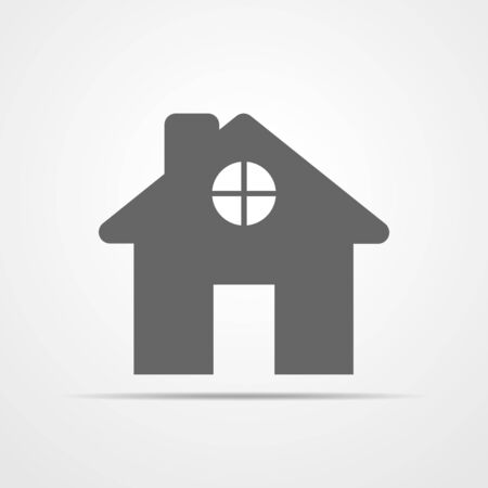 construction: House icon in flat design. Vector illustration. Black house sign, isolated on light background.