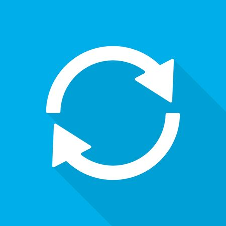 Update icon in flat design. Vector illustration. White sign of the reload with long shadow on blue background. Refresh symbol.