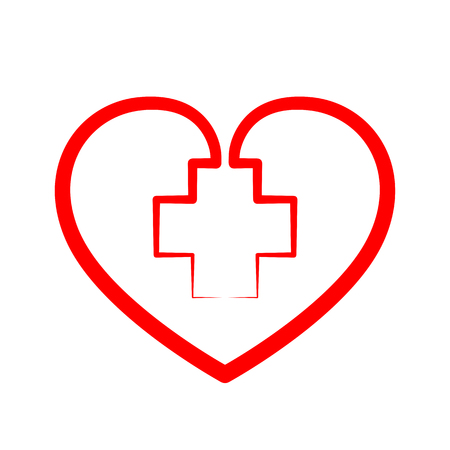 Medical cross inside in the heart symbol. Red medical sign, isolated on white background. Vector illustration. Abstract medical symbol.