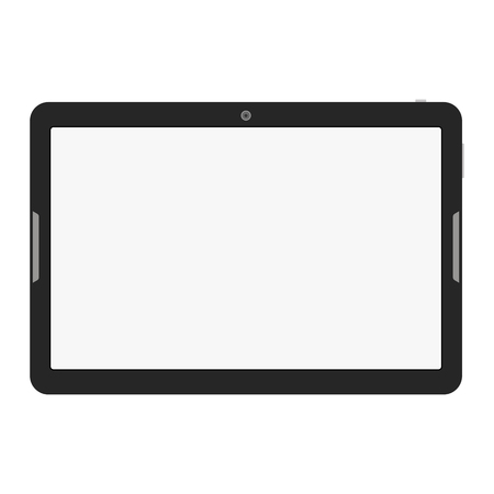 Modern touch screen tablet computer isolated on white illustration. Illustration