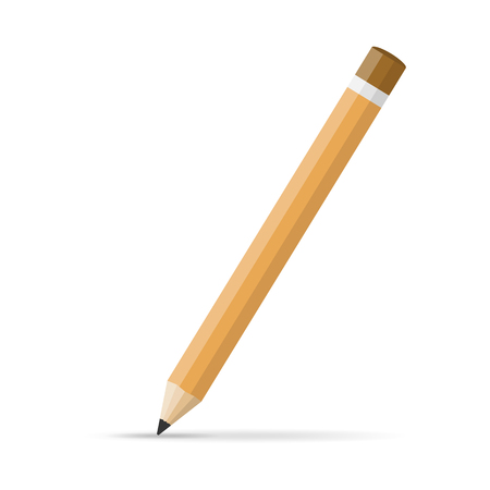 Pencil icon in flat design. Vector illustration. Pencil on white background with shadow. Çizim