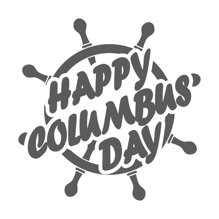 Columbus day badge with ship steering wheel in flat design, isolated. Vector illustration Illustration