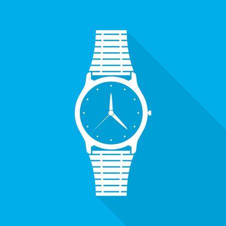 cronógrafo: Icono de reloj de pulsera con flechas en diseño plano. Ilustración del vector. Icono de reloj de pulsera blanco con una larga sombra sobre fondo azul.