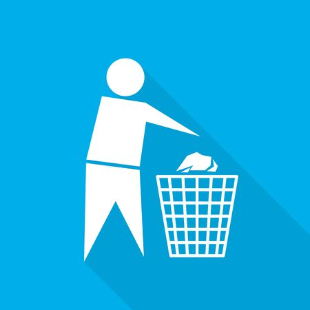 Trash bin or trash can with human figure. Vector illustration. White trash icon on blue background.