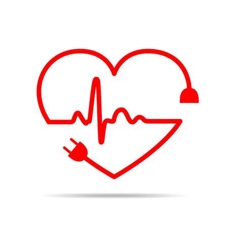Electric cable and sign heartbeat sign in the form of the heart. Vector illustration. Love concept Ilustrace