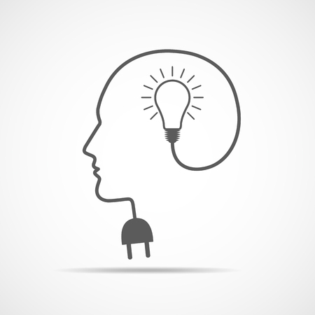 Head with a light bulb and socket. Vector Illustration. Concept of the success
