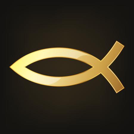 Golden christian fish icon on dark background. Vector Illustration. Symbol of Christianity - fish