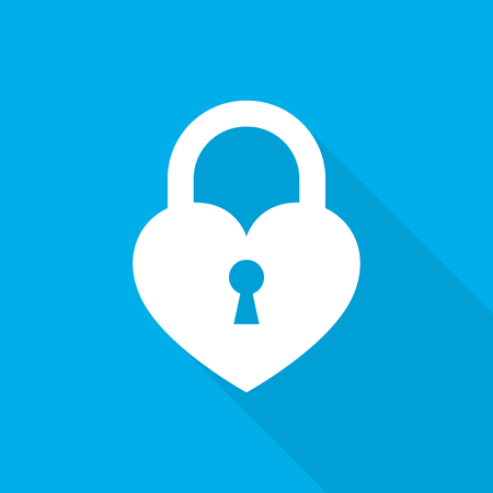 White lock icon on blue background. Vector illustration. Abstract lock with long shadow.