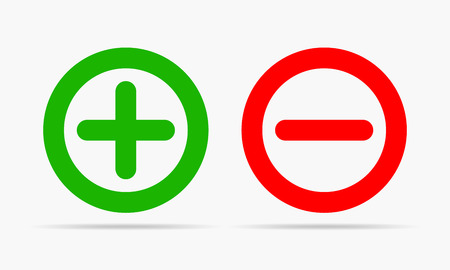 Plus and minus round icons Vettoriali