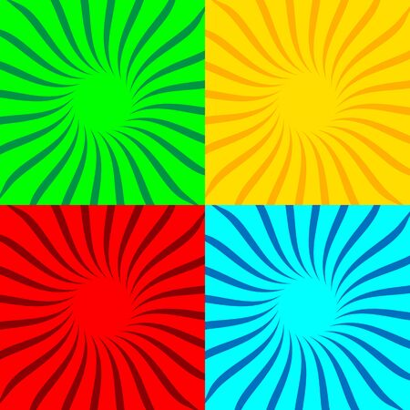 Set of colored pop art backgrounds with sunbeams. Vector Illustration. Sunbeams background